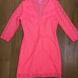 Hot Pink Lace Long Sleeve Lily Pulitzer Dress